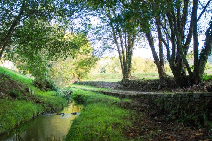Tramo do camiño real de Piñeiro paralelo ao rego de Angrois preto da capela de Santa Lucía